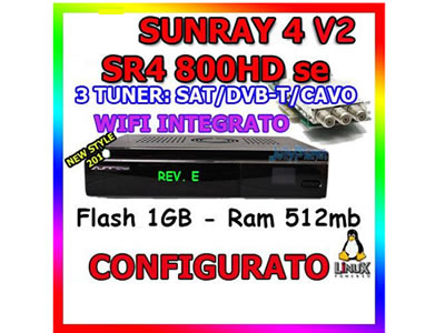 Sunray SUN800 HD SE with SIM2.2 Card  3 tuners satellite receiver  TV receiver