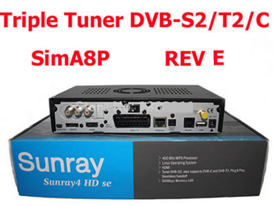 Sunray sr4 A8P sim card triple tuner DVB-S2/T2/C + WiFi  TV receiver