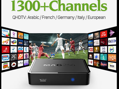 Mag 250 Set Box + 12 Months QHDTV IPTV Subscription 1300+ Live TV Channels