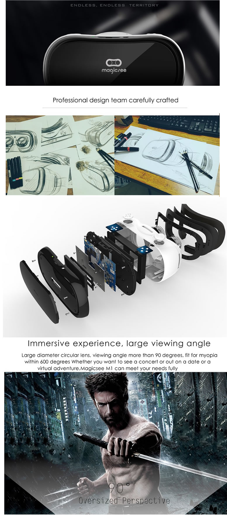 Magicsee M1 ALL IN ONE VR Virtual Reality 3D Glasses
